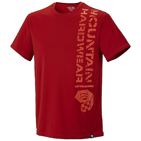 Mountain Hardwear Men's Stencil Logo T Shirt DECENT FEATURES of the Mountain Hardwear Men's Stencil Logo T-Shirt Wicking, fast drying, stretch fabric Antimicrobial finish controls odor Flat-lock seam construction eliminates chafe Detailed with water-based placement print UPF 50 sun protection The SPECS Apparel Fit: Semi-Fitted Average Weight: 4.2 oz / 118 g Center Back Length: 28in. / 71 cm Body: Tipa Warp Knit Jersey (100% polyester) - $41.95