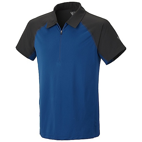 Free Shipping. Mountain Hardwear Men's Justo Trek S-S Zip Polo DECENT FEATURES of the Mountain Hardwear Men's Justo Trek Short Sleeve Zip Polo Wicking, fast drying, stretch fabric Zip neck for ventilation Panels over shoulders for abrasion resistance when carrying a pack Flat-lock seam construction eliminates chafe Antimicrobial finish controls odor The SPECS Average Weight: 5 oz / 133 g Center Back Length: 28in. / 71 cm Body: Tipa Warp knit (100% polyester) Panel: Quickdry ripstop Jersey - $49.95