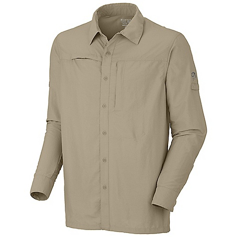 Entertainment Free Shipping. Mountain Hardwear Men's Canyon L-S Shirt DECENT FEATURES of the Mountain Hardwear Men's Canyon Long Sleeve Shirt Seams rotated away from pressure points for comfort under a pack Flip-up sun protection collar Mesh back and side panels for ventilation Zip map pocket Sleeve roll-up tab for quick fit adjustments Sunglasses loop for quick stowing option Wrinkle-resistant, quick-drying and durable fabric UPF 30 sun protection The SPECS Average Weight: 8.5 oz / 242 g Center Back Length: 30in. / 76 cm Body: Desert cloth (70% nylon, 30% polyester) Panel: Wicked taper Mesh (100% polyester - $64.95