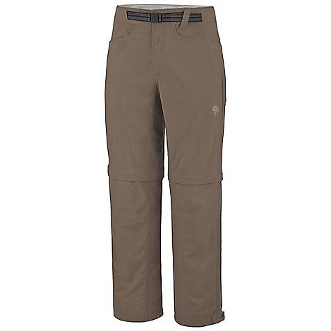 On Sale. Free Shipping. Mountain Hardwear Men's Mesa Convertible Pant DECENT FEATURES of the Mountain Hardwear Men's Mesa Convertible Pant Micro-Chamois-lined seamless conical waist for comfort under a pack Integrated webbing belt with buckle closure for easy fit adjustments Lots of pockets for storage Side leg zipper for easy fit adjustments with boots Mesh drain panels in pockets for river crossings and spontaneous swims Full-length inseam gusset and articulated knees for mobility Convert to shorts with an 11in. inseam Side leg hem zipper for easy fit with boots DWR finish sheds moisture UPF 50 sun protection Imported The SPECS Apparel Fit: Relaxed Average Weight: 14.9 oz / 422 g Inseam: 30in. / 76 cm, 32in. / 81 cm, 34in. / 86 cm Body: Canyon Twill (100% nylon) Lining: Micro-Chamois (100% brushed polyester) - $42.99