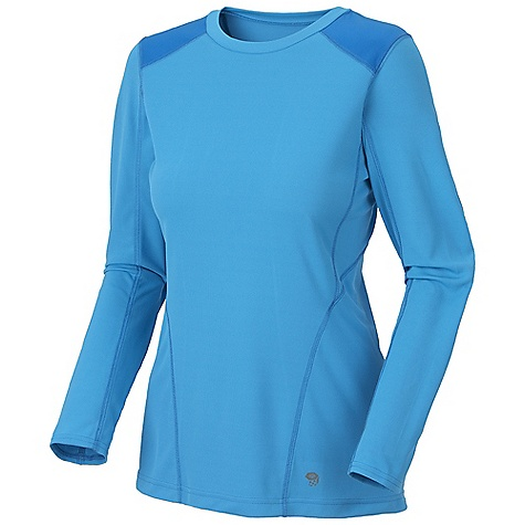 On Sale. Mountain Hardwear Women's Ediza L-S T Shirt DECENT FEATURES of the Mountain Hardwear Women's Ediza Long Sleeve T-Shirt Wicking, fast drying, stretch fabric Flat-lock seam construction eliminates chafe Panels over shoulders for abrasion resistance when carrying a pack Antimicrobial finish controls odor 25 UPF sun protection The SPECS Apparel Fit: Semi-Fitted Average Weight: 5.4 oz / 152 g Center Back: 25in. / 64 cm Body: Lit trek Double Knit Pique Mesh (100% polyester) Panel: Tipa Warp Knit Jersey (100% polyester) - $28.99