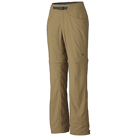 On Sale. Free Shipping. Mountain Hardwear Women's Ramesa Convertible Pant DECENT FEATURES of the Mountain Hardwear Women's Ramesa Convertible Pant Micro-Chamois-lined seamless conical waist for comfort under a pack Integrated webbing belt with buckle closure for easy fit adjustments Lots of pockets for storage Side leg hem zipper for easy fit with boots Mesh drain panels in pockets for river crossings and spontaneous swims Full-length inseam gusset and articulated knees for mobility Zip-off legs for 9in. shorts DWR finish sheds moisture UPF 50 sun protection Imported The SPECS Apparel Fit: Relaxed Average Weight: 11.6 oz / 330 g Inseam: 30, 32, 34in. / 76, 81, 86 cm Body: Canyon Twill (100% nylon) Lining: Micro-Chamois (100% brushed polyester) - $50.99