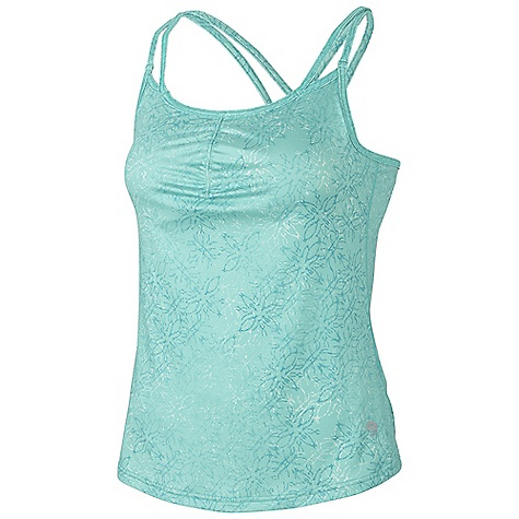 Fitness On Sale. Free Shipping. Mountain Hardwear Women's Afra Tank DECENT FEATURES of the Mountain Hardwear Women's Afra Tank Flat-lock seam construction eliminates chafe Integrated shelf bra for support Flattering scooped neckline and back strap detail Detailed with water-based placement print The SPECS Apparel Fit: Fitted Average Weight: 5.6 oz / 158 g Center Back Length: 15.5in. / 39 cm Body: Bassano Print Jersey (87% polyester, 13% elastane) - $31.99