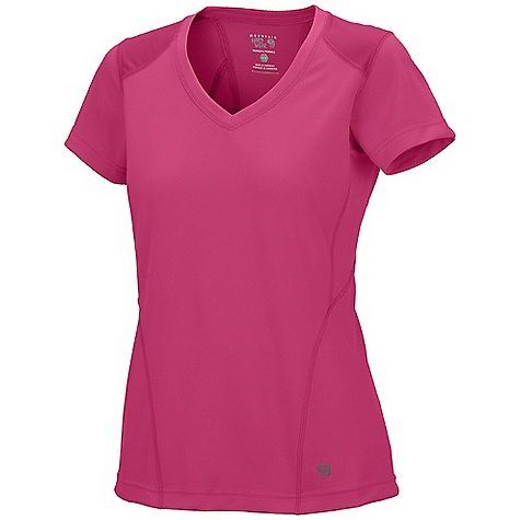 Mountain Hardwear Women's Ediza S-S T Shirt DECENT FEATURES of the Mountain Hardwear Women's Ediza Short Sleeve T-Shirt Wicking, fast drying, stretch fabric Flat-lock seam construction eliminates chafe Panels over shoulders for abrasion resistance when carrying a pack Antimicrobial finish controls odor 25 UPF sun protection The SPECS Apparel Fit: Semi-Fitted Average Weight: 3.9 oz / 110 g Center Back: 25in. / 64 cm Body: Lit trek Double Knit Pique Mesh (100% polyester) Panel: Tipa Warp Knit Jersey (100% polyester) - $38.00