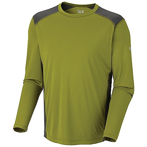 Mountain Hardwear Men's Justo Trek L-S T DECENT FEATURES of the Mountain Hardwear Men's Justo Trek Long Sleeve T Wick.Q EVAP on back panel disperses moisture for quick evaporation Wicking, fast drying, stretch fabric Seams rotated away from pressure points for comfort under a pack Antimicrobial finish controls odor The SPECS Average Weight: 6 oz / 158 g Centre Back Length: 29in. / 74 cm Body: Tipa Warp Knit 100% polyester Panel: Wick.Q EVAP Tipa Warp Knit 100% polyester - $44.95