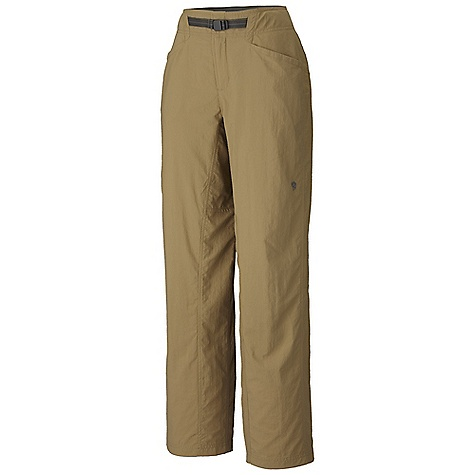 On Sale. Free Shipping. Mountain Hardwear Women's Ramesa Pant DECENT FEATURES of the Mountain Hardwear Women's Ramesa Pant Micro-Chamois-lined seamless conical waist for comfort under a pack Integrated webbing belt with buckle closure for easy fit adjustments Lots of pockets for storage Mesh drain panels in pockets for river crossings and spontaneous swims Full-length inseam gusset and articulated knees for mobility DWR finish sheds moisture UPF 50 sun protection Imported The SPECS Average Weight: 10.3 oz / 293 g Inseam: 30, 32, 34in. / 76, 81, 86 cm Body: Canyon Twill (100% nylon) Lining: Micro-Chamois (100% brushed polyester) - $31.99