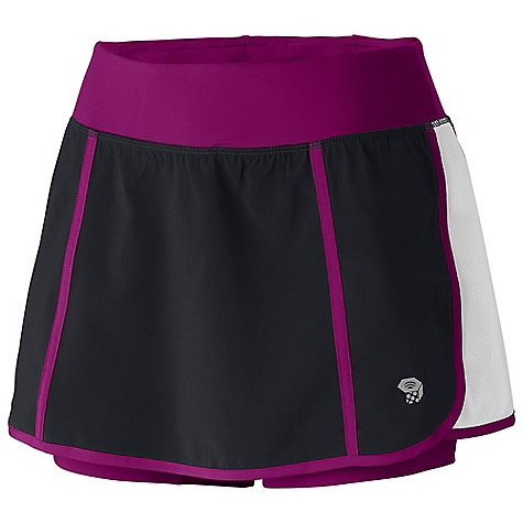 Free Shipping. Mountain Hardwear Women's Pacer Skort DECENT FEATURES of the Mountain Hardwear Women's Pacer Skort Wicking, fast drying, stretch fabric Inner short liner adds comfort and reduces chafing Mesh side panels for ventilation Secure zip pocket on back of waistband Reflective trim for visibility Soft drawcord at waist for easy fit adjustments Internal waistband pocket DWR finish for quick drying UPF 25 sun protection The SPECS Apparel Fit: Semi-Fitted Average Weight: 5.8 oz / 164 g Inseam Length: 5in. / 13 cm Outseam: 14in. at back Body: 4-Way Stretch Ultralite plain weave (100% polyester) Lining: Basso Jersey v1.0 (87% polyester, 13% elastane) - $54.95