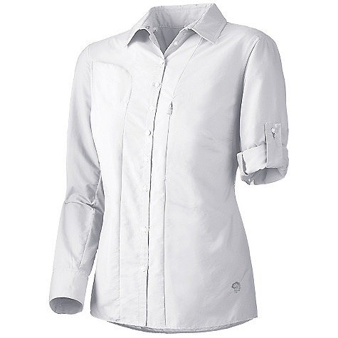 On Sale. Free Shipping. Mountain Hardwear Women's Canyon Long Sleeve Shirt DECENT FEATURES of the Mountain Hardwear Women's Canyon Long Sleeve Shirt Seams rotated away from pressure points for comfort under a pack Wrinkle-resistant, quick-drying and durable fabric Flip-up sun protection collar Mesh back and side panels for ventilation Sleeve roll-up tab for quick fit adjustments The SPECS Average Weight: 6 oz / 183 g Center Back Length: 26in. / 66 cm Body: Desert Cloth (70% nylon, 30% polyester) Panel: Wicked taper Mesh (100% polyester) - $31.99