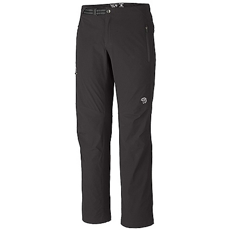 Free Shipping. Mountain Hardwear Men's Rifugio Trek Pant DECENT FEATURES of the Mountain Hardwear Men's Rifugio Trek Pant Abrasion-resistant, air-permeable, lightweight softshell fabric Micro-Chamois-lined seamless conical waist for comfort under a pack Integrated webbing belt with buckle closure for easy fit adjustments DWR finish repels water The SPECS Average Weight: 10 oz / 275 g Inseam: 30, 32, 34in. / 76, 81, 86 cm Body: Chock Ultralite double Weave Softshell (86% nylon, 14% elastane) - $89.95