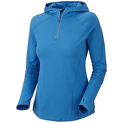 Free Shipping. Mountain Hardwear Women's Butter Zippit Hoody DECENT FEATURES of the Mountain Hardwear Women's Butter Zippit Hoody Update: Antimicrobial finish Wicking, fast drying, stretch fabric Zip neck for ventilation Low profile hood for a snug fit Chin guard for comfort Reflective trim for visibility Zipped secure pocket at side panel for storage Thumb loops keep hands warm Flat-lock seam construction eliminates chafe UPF 50 sun protection The SPECS Average Weight: 9.1 oz / 258 g Center Back Length: 27.5in. / 70 cm Body: P. Butter Jersey (89% polyester, 11% elastane) - $74.95