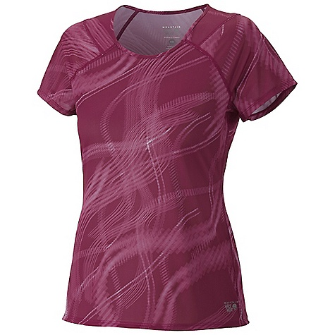 Mountain Hardwear Women's Wicked Electric S-S T Shirt DECENT FEATURES of the Mountain Hardwear Women's Wicked Electric Short Sleeve T-Shirt Wicking, fast drying fabric Flat-lock seam construction eliminates chafe Antimicrobial finish controls odor Reflective trim for visibility The SPECS Apparel Fit: Semi-Fitted Average Weight: 2.6 oz / 75 g Center Back Length: 24in. / 61 cm Body: Sublimated print Wicked Taper mesh (100% polyester) - $39.95