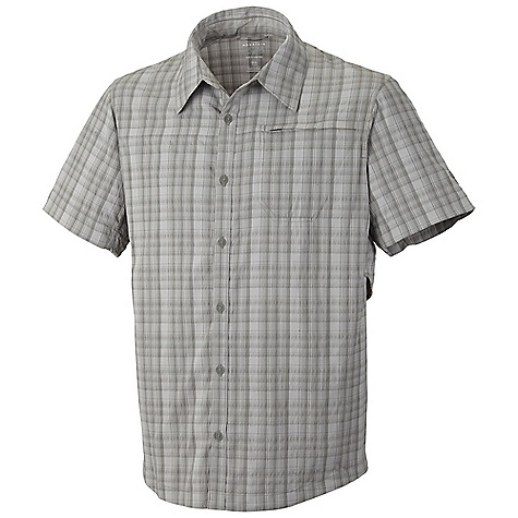 Free Shipping. Mountain Hardwear Men's Fallon S-S Shirt DECENT FEATURES of the Mountain Hardwear Men's Fallon Short Sleeve Shirt Seams rotated away from pressure points for comfort under a pack Flip-up sun protection collar Zip chest pocket Hidden mesh vents under arms for cooling Wrinkle-resistant, quick-drying and durable fabric The SPECS Average Weight: 6 oz / 164 g Center Back Length: 29in. / 74 cm Body: Hex ripstop plaid (58% Supplex nylon, 42% polyester St-400) - $69.95