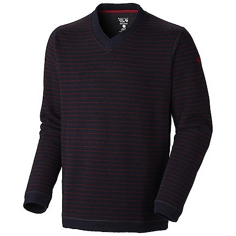Free Shipping. Mountain Hardwear Men's Melbu Stripe Sweater DECENT FEATURES of the Mountain Hardwear Men's Melbu Stripe Sweater Flat-lock seam construction eliminates chafe Hole for neck Sleeves for arms The SPECS Average Weight: 16 oz / 460 g Center Back Length: 28in. / 71 cm Apparel Fit: Semi-Fitted Body: Melbu Stripe Sweater Fleece (40% wool, 40% polyester, 18% nylon, 2% other) - $119.95