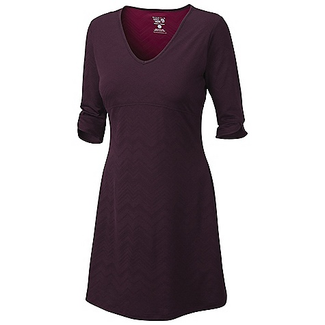 Entertainment On Sale. Free Shipping. Mountain Hardwear Women's Navandella Dress DECENT FEATURES of the Mountain Hardwear Women's Navandella Dress Flattering V-neck Ultra comfy so-fine jersey liner The SPECS Apparel Fit: Semi-Fitted Average Weight: 12.4 oz / 350 g Center Back Length: 35in. / 89 cm Body: Barcode Wicking Jacquard (100% polyester) Lining: So Fine Jersey (100% polyester) - $43.99