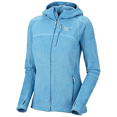 On Sale. Free Shipping. Mountain Hardwear Women's Monkey Woman Grid Jacket DECENT FEATURES of the Mountain Hardwear Women's Monkey Woman Grid Jacket MicroClimate Zoning construction for built in warmth, breathability and stretch Close fitting hood, designed to fit under helmet Dual hem drawcords for quick fit adjustments Zip chest stash pocket Integrated thumb loops for warmth The SPECS Average Weight: 12 oz / 340 g Center Back Length: 25in. / 64 cm Body: Polartec High Loft Grid Monkey Phur 59% recycled polyester, 41% polyester Panel: Stretch Fleece 93% polyester, 7% elastane - $94.99