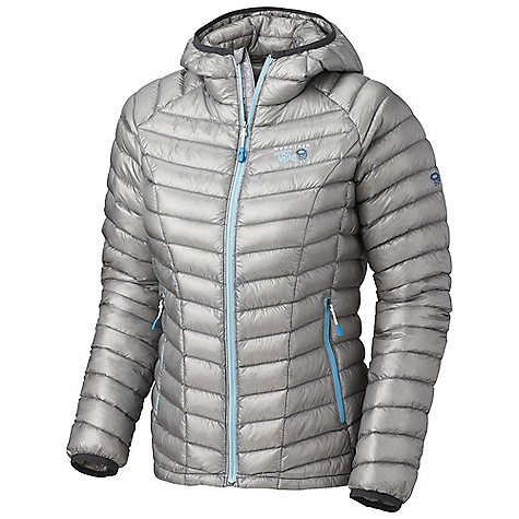On Sale. Free Shipping. Mountain Hardwear Women's Ghost Whisperer Hooded Down Jacket DECENT FEATURES of the Mountain Hardwear Women's Ghost Whisperer Hooded Down Jacket Quilted construction holds Insulation in place Two front handwarmer pockets Low profile, insulated hood Jacket stows in pocket Lightweight single pull hem drawcord The SPECS Average Weight: 7 oz / 198 g Center Back Length: 25in. / 64 cm Body: Whisperer 7D x 10D Ripstop (100% nylong) Insulation: Q.Shield Down 850-fill - $209.99