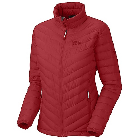 On Sale. Free Shipping. Mountain Hardwear Women's Nitrous Jacket DECENT FEATURES of the Mountain Hardwear Women's Nitrous Jacket Quilted construction holds insulation in place Two front hand warmer pockets Dual hem drawcords seal in warmth Jacket stows in pocket Full elastic cuffs slide easily over layers to seal in warmth Micro-Chamois-lined chin guard prevents zipper chafe The SPECS Apparel Fit: Standard Average Weight: 10 oz / 283 g Center Back Length: 26in. / 66 cm Body: Hi-Five 30D Rip (100% nylon) Insulation: 800-Fill Goose Down - $168.99