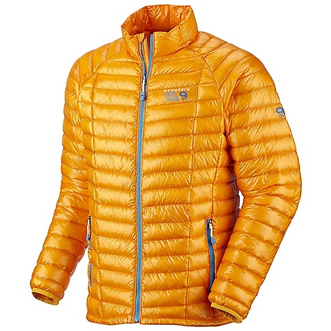 On Sale. Free Shipping. Mountain Hardwear Men's Ghost Whisperer Down Jacket DECENT FEATURES of the Mountain Hardwear Men's Ghost Whisperer Down Jacket Q.Shield Down protects individual down fibers from moisture so they keep you warm even when wet Quilted construction holds Insulation in place Two front handwarmer pockets Jacket stows in pocket Lightweight single pull hem drawcord The SPECS Average Weight: 7 oz / 205 g Center Back Length: 27in. / 69 cm Body: Whisperer 7D x 10D Ripstop (100% nylon) Insulation: Q.Shield Down 850-fill - $184.99