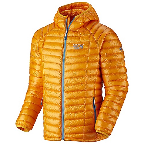 Free Shipping. Mountain Hardwear Men's Ghost Whisperer Hooded Down Jacket DECENT FEATURES of the Mountain Hardwear Men's Ghost Whisperer Hooded Down Jacket Q.Shield Down protects individual down fibers from moisture so they keep you warm even when wet Quilted construction holds Insulation in place Two front handwarmer pockets Low profile, insulated hood Jacket stows in pocket The SPECS Average Weight: 7 oz / 212 g Center Back Length: 27in. / 69 cm Body: Whisperer 7D x 10D Ripstop (100% nylon) Insulation: Q.Shield Down 850-fill - $299.95