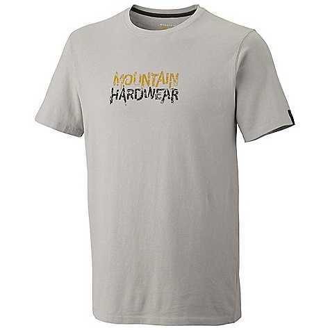 On Sale. Mountain Hardwear Men's Shattering Logo S-S T DECENT FEATURES of the Mountain Hardwear Men's Shattering Logo Short Sleeve T Hole for neck The SPECS Apparel Fit: Semi-Fitted Average Weight: 5.6 oz / 160 g Center Back Length: 28in. / 71 cm Body: Owino Jersey (100% cotton) - $21.99