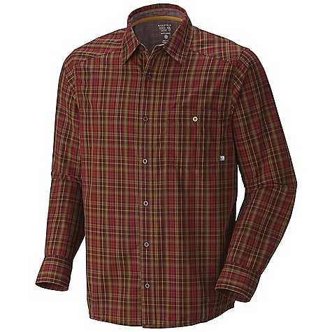 On Sale. Free Shipping. Mountain Hardwear Men's Cardwell L-S Shirt DECENT FEATURES of the Mountain Hardwear Men's Cardwell Long Sleeve Shirt One chest pocket Simple button front closure The SPECS Apparel Fit: Semi-Fitted Average Weight: 6.8 oz / 194 g Center Back Length: 29in. / 74 cm Body: Cardwell collie Plaid (60% cotton, 40% polyester) - $37.99