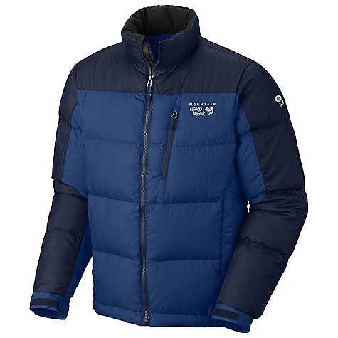 On Sale. Free Shipping. Mountain Hardwear Men's Hunker Down Jacket DECENT FEATURES of the Mountain Hardwear Men's Hunker Down Jacket New design Fleece-lined hand warmer pockets Adjustable cuffs for fit options Interior water bottle pocket Dual hem drawcords for quick fit adjustments Interior zip pocket stores ID, keys, other small essentials The SPECS Average Weight: 1 lb 5 oz / 595 g Center Back Length: 28in. / 71 cm Body: 50D Rip (100% polyester) Insulation: 650-Fill Goose Down - $156.99