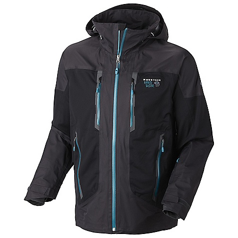 On Sale. Free Shipping. Mountain Hardwear Men's Alakazam Jacket DECENT FEATURES of the Mountain Hardwear Men's Alakazam Jacket New design and fabric Total waterproof protection Softshell side panels and elbows for increased mobility and comfort Attached, adjustable, helmet compatible hood Removable, adjustable, stretch powder skirt Pit zips for additional ventilation Plenty of interior pockets for all your gear Soft, in.Butter Jerseyin. cuffs Zip handwarmer and chest pockets One-handed hood and hem drawcords for quick adjustments Micro-Chamois-lined chin guard eliminates zipper chafe The SPECS Average Weight: 1 lb 12 oz / 794 g Center Back Length: 30in. / 76 cm Body: 3L Dobby (100% nylon) Panel: Solution thermal Softshell (50% nylon, 50% polyester) - $383.99