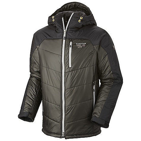 On Sale. Free Shipping. Mountain Hardwear Men's B'Layman Jacket DECENT FEATURES of the Mountain Hardwear Men's B'Layman Jacket Two front handwarmer pockets Dual hem drawcords for quick fit adjustments Insulated hood with single-pull adjustment system Interior water bottle pocket Interior zip pocket for keys, ID, other small items The SPECS Average Weight: 1 lb 10 oz / 740 g Center Back Length: 30in. / 76 cm Body: 20D Nylon Ripstop (100% nylon) Panel: AirShield Elite 15D Ripstop (100% nylon) Insulation: 200g Thermal.Q Elite - $193.99