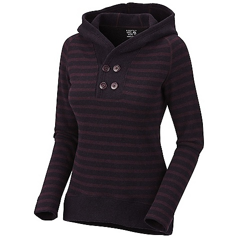 On Sale. Free Shipping. Mountain Hardwear Women's Sevina Hoody DECENT FEATURES of the Mountain Hardwear Women's Sevina Hoody Cozy full coverage hood Functional buttons at neck placket Flat-lock seam construction eliminates chafe The SPECS Average Weight: 1 lb 2 oz / 501 g Center Back Length: 29in. / 74 cm Body: Rana Tweed Stripe Fleece (40% polyester, 40% reclaimed wool, 18% nylon, 2% other fibers) - $71.99