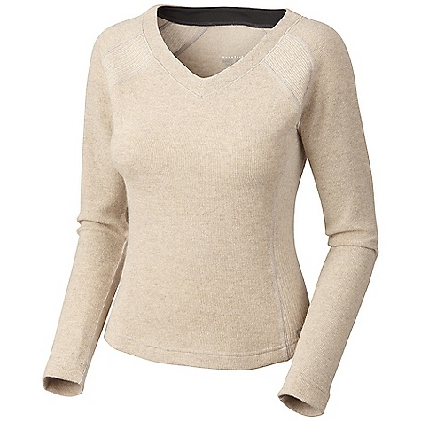 On Sale. Free Shipping. Mountain Hardwear Women's Sarafin Sweater DECENT FEATURES of the Mountain Hardwear Women's Sarafin Sweater Flattering neck line Flat-lock seam construction eliminates chafe Updated: style lines The SPECS Apparel Fit: Semi-Fitted Average Weight: 10.5 oz / 298 g Center Back Length: 23in. / 58 cm Body: Dihedral Birdseye Jersey (40% wool, 40% polyester, 18% nylon, 2% other) - $48.99