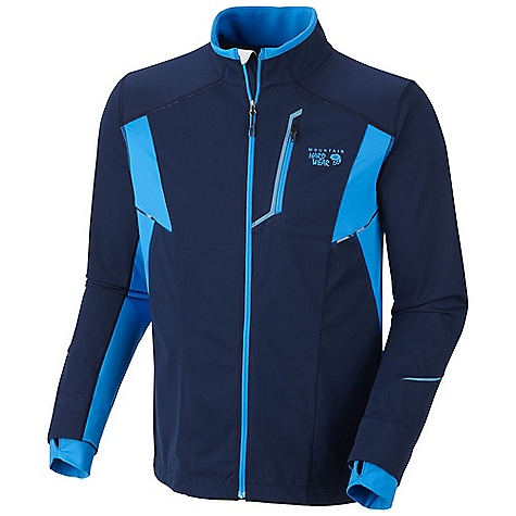 Free Shipping. Mountain Hardwear Men's Effusion Power Jacket DECENT FEATURES of the Mountain Hardwear Men's Effusion Power Jacket Face fabric: windproof and water resistant Strategically placed knit panels for increased breath ability and mobility Water-resistant zippered chest pocket for media player and small items Dual hem drawcords for quick fit adjustments Thumb loops keep hands warm Flat-lock seam construction eliminates chafe DWR finish repels water Reflective trim for visibility The SPECS Apparel Fit: Active Average Weight: 11.9 oz / 336 g Center Back Length: 27in. / 69 cm Body: Active Solution 3L Jersey (100% polyester) Panel: Stretch Tech Terry (65% nylon, 22% polyester, 13% elastane) - $174.95