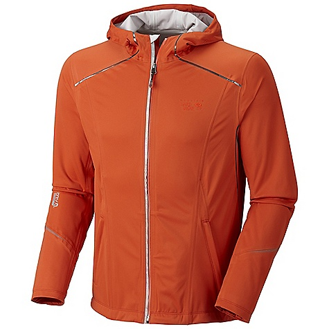 Free Shipping. Mountain Hardwear Men's Effusion Hooded Jacket DECENT FEATURES of the Mountain Hardwear Men's Effusion Hooded Jacket Close fitting, athletic cut with a long-cut back for performance Fully waterproof seam taped construction DWR finish repels water Reflective trim for visibility The SPECS Apparel Fit: Active Average Weight: 12.5 oz / 353 g Center Back Length: 27in. / 69 cm Body: Active Solution 3L Jersey (100% polyester) - $239.95