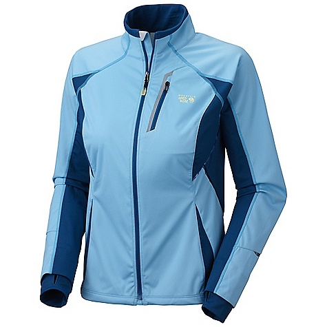 Free Shipping. Mountain Hardwear Women's Effusion Power Jacket DECENT FEATURES of the Mountain Hardwear Women's Effusion Power Jacket Face fabric: windproof and water resistant Strategically placed knit panels for increased breath ability and mobility Water-resistant zippered chest pocket for media player and small items Thumb loops keep hands warm Dual hem drawcords for quick fit adjustments Reflective trim for visibility Flat-lock seam construction eliminates chafe DWR finish repels water The SPECS Average Weight: 11 oz / 300 g Apparel Fit: Active Center Back Length: 25in. / 64 cm Body: Active Solution 3L Jersey (100% polyester) Panel: Stretch Tech Terry (65% nylon, 22% polyester, 13% elastane) - $179.95