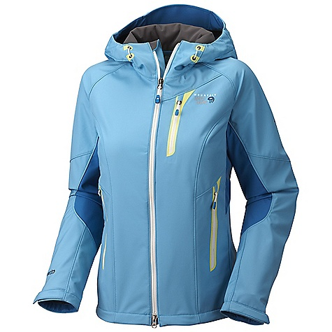 On Sale. Free Shipping. Mountain Hardwear Women's Embolden Jacket DECENT FEATURES of the Mountain Hardwear Women's Embolden Jacket Attached, helmet-compatible hood with single handed drawcord for quick fit adjustments Pockets set high and out of the way from harness and pack straps Cuff tabs and hem drawcords for quick fit adjustments Interior zip pocket for keys, ID, other small items Internal stash pocket Micro-Chamois -lined chin guard prevents zipper chafe The SPECS Average Weight: 1 lb 3 oz / 538 g Center Back Length: 26.5in. / 67 cm Body: Air Shield Soft shell (100% nylon) - $136.99