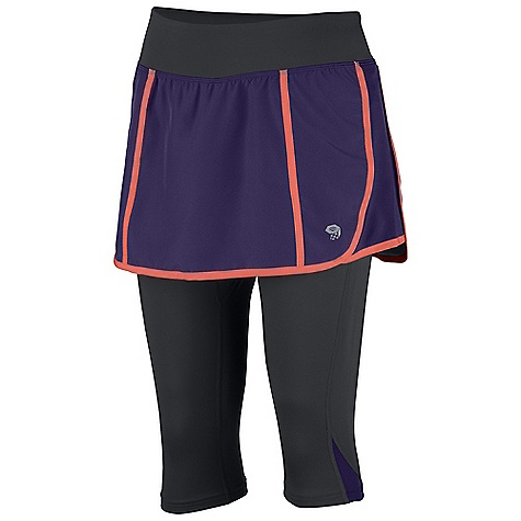 Free Shipping. Mountain Hardwear Women's Pacer 2-In-1 Skeggin DECENT FEATURES of the Mountain Hardwear Women's Pacer 2-In-1 Skeggin Wicking, fast drying, stretch fabric Internal waistband pocket Secure zip pocket on back of waistband DWR finish repels water The SPECS Average Weight: 7 oz / 185 g Inseam: 16in. / 41 cm Body: Tilewood Plain Weave 100% polyester Lower: 87% polyester, 13% elastane - $69.95