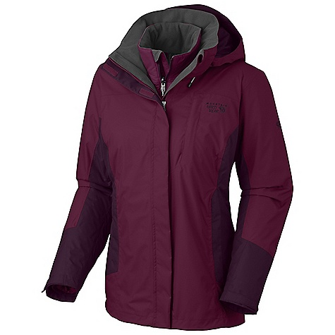 Free Shipping. Mountain Hardwear Women's Rosalyn Trifecta DECENT FEATURES of the Mountain Hardwear Women's Rosalyn Trifecta Removable zip-off hood Pit zips for quick ventilation Adjustable cuff and hem Interior zip pocket for keys, ID, other small items Zip handwarmer pockets Two front handwarmer pockets Dual hem drawcords for quick fit adjustments Low profile elastic cuffs for easy layering The SPECS for Shell Average Weight: 1 lb 5 oz / 600 g Center Back Length: 28in./ 71 cm Body: Dry.Q Core Double Ripstop 100% nylon The SPECS for Liner Average: 13 oz / 370 g Center Back Length: 26in. / 66 cm Body: 30D Micro Taffeta 100% nylon Insulation: 80g Thermal.Q - $299.95