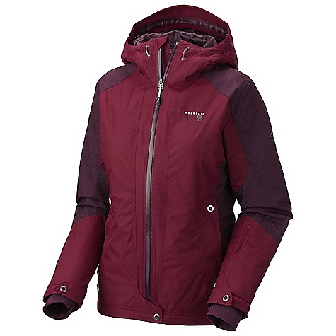 Free Shipping. Mountain Hardwear Women's Turnagain Jacket DECENT FEATURES of the Mountain Hardwear Women's Turnagain Jacket High-pile Velboa Raschel fleece lining on back for exceptionally soft warmth Attached, adjustable, helmet compatible hood Attached, adjustable stretch powder skirt Plenty of interior pockets for all your gear Soft,in.Butter Jerseyin. cuffs One-handed hood and hem drawcords for quick adjustments Zip handwarmer pockets Micro-Chamois-lined chin guard eliminates zipper chafe The SPECS Average Weight: 2 lbs 3 oz / 0.99 kg Center Back Length: 28in. / 71 cm Body: 2L Full Dull Dobby (100% nylon) Insulation: 60g Thermic Micro - $249.95
