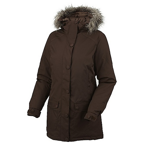 Free Shipping. Mountain Hardwear Women's Bay Village Coat DECENT FEATURES of the Mountain Hardwear Women's Bay Village Coat Insulated with lofty and warm 650-Fill goose down Insulated, attached, adjustable hood with removable faux-fur trim for added warmth and style Two front fleece-lined hand warmer pockets Adjustable cuffs and dual hem drawcords seal in warmth Interior zip pocket stores ID, keys, other small essentials Fleece-lined chin guard prevents zipper chafe The SPECS Average Weight: 2 lbs 8 oz / 1130 g Center Back Length: 32in. / 81 cm Body: 2L Smooth Nylon (100% nylon) Insulation: 650-Fill Goose Down - $399.95