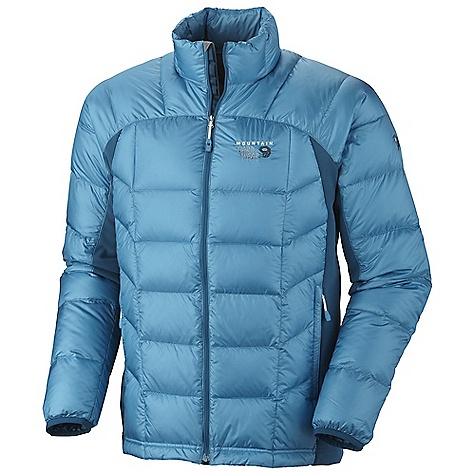 On Sale. Free Shipping. Mountain Hardwear Men's Zonal Down Jacket DECENT FEATURES of the Mountain Hardwear Men's Zonal Down Jacket Down insulated body panels and sleeves for warmth and compressibility Stretch fleece side panels and underarms for mobility and breathability Dual hem drawcords for quick fit adjustments Jacket stows in pocket Micro-Chamois-lined chin guard prevents zipper chafe Zip handwarmer pockets The SPECS Average Weight: 10 oz / 283 g Center Back Length: 28in. / 71 cm Body: 20D Ripstop (100% nylon) Panel: Stretch Fleece (93% polyester, 7% elastane) Insulation: 850-Fill Goose Down - $167.99