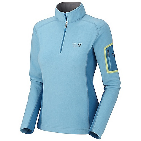 Camp and Hike Free Shipping. Mountain Hardwear Women's Microstretch Zip-T DECENT FEATURES of the Mountain Hardwear Women's Microstretch Zip-T Stretch fleece side panels and underarms, for mobility Zip arm stash pocket Flat-lock construction for comfort High-cut collar with 12in. zip to vent heat The SPECS Average Weight: 8 oz / 238 g Center Back Length: 25in. / 64cm Microchill fleece 100% polyester - $99.95