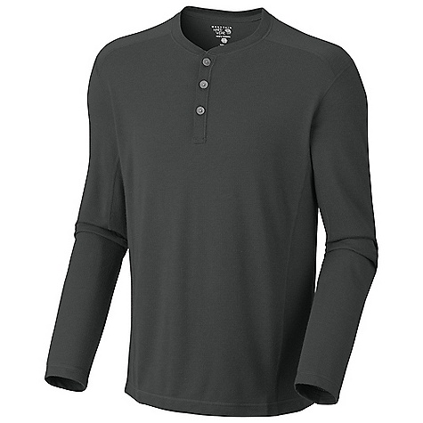 On Sale. Free Shipping. Mountain Hardwear Men's Trekkin Thermal Henley DECENT FEATURES of the Mountain Hardwear Men's Trekkin Thermal Henley Wicking, fast drying fabric Flat-lock seam construction eliminates chafe The SPECS Average Weight: 8 oz / 237 g Centre Back Length: 28in. / 71 cm Body: Mountain Grid Thermal 93% polyester, 7% wool - $41.99