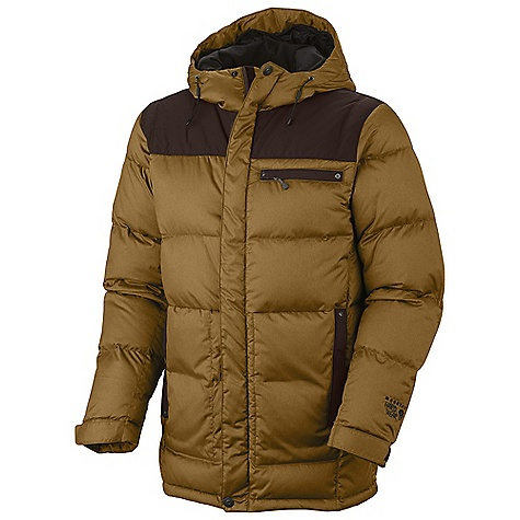 Free Shipping. Mountain Hardwear Men's Greenwich Coat DECENT FEATURES of the Mountain Hardwear Men's Greenwich Coat Insulated with lofty and warm 650-fill goose down One-handed hood and hem drawcords for quick adjustments Attached, insulated, adjustable hood Interior zip pocket for keys, ID, other small items Micro-Chamois-lined chin guard The SPECS Weight: 1 lb 10 oz / 734 g Center Back Length: 31in. / 79 cm Body: Melange Twill Insulation: 650-Fill Goose Down - $299.95