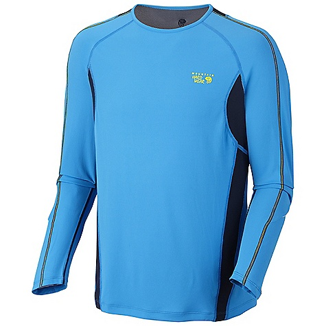 Free Shipping. Mountain Hardwear Men's Elmoro L-S T DECENT FEATURES of the Mountain Hardwear Men's Elmoro Long Sleeve T Stretch mesh strategically placed for venting and close fit Flat-lock seam construction eliminates chafe Antimicrobial finish controls odor Reflective trim for visibility The SPECS Average Weight: 6 oz / 160 g Center Back Length: 29in. / 74 cm Body: Fasttouch Ultralite Double Knit Pique Mesh (54% polyester, 46% polypropylene) Panel: Hydro-Hex Stretch Mesh (91% polyester, 9% elastane) - $59.95