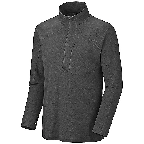 Free Shipping. Mountain Hardwear Men's Cusco 1-4 Zip Sweater DECENT FEATURES of The Mountain Hardwear Men's Cusco 1/4 Zip Sweater Deep zipper opening at neck for ventilation Thumb loops keep hands warm Chest pocket with earpiece cord exit Flat-lock seam construction eliminates chafe The SPECS Average Weight: 15 oz / 419 g Center Back Length: 28in. / 71 cm Fabric: Body: Chullo Ponte (100% merino wool) - $139.95