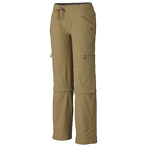 Camp and Hike On Sale. Free Shipping. Mountain Hardwear Women's Yuma Convertible Pant DECENT FEATURES of the Mountain Hardwear Women's Yuma Convertible Micro-Chamois-lined seamless conical waist for comfort under a pack Soft drawcord at waist for easy fit adjustments Secured zip, side leg cargo pockets for storage Full length inseam gusset for mobility Adjustable drawcord hidden inside hem to cinch pant leg Durable, 4-way stretch fabric for movement DWR finish sheds moisture UPF 50 sun protection The SPECS Usage: A very popular hiking pant with lots of stretch and unique tie waist Apparel Fit: Relaxed Weight: 11.5 oz / 325 g Inseam Length: 30in. / 76 cm, 32in. / 81 cm, 34in. / 86 cm - $55.99