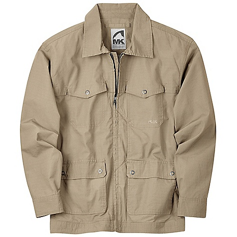 On Sale. Free Shipping. Mountain Khakis Men's Americano Jacket DECENT FEATURES of the Mountain Khakis Men's Americano Jacket 4 Front Patch Pockets 2 Hand-Warmer Pockets Back Field Pocket with Snap Closure Cell Phone Stash Pocket YKK Zippers with Front Kiss Welt Garment Washed Casual Fit The SPECS Body: 4.5 oz 100% Cotton Dobby Lining: 4 oz 100% Cotton Herringbone Finished Drop Lining - $122.99