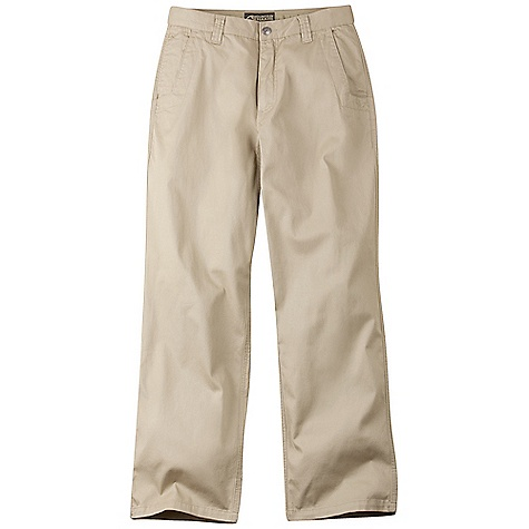 Features of the Mountain Khakis Men's Lake Lodge Twill Pant 5 Pockets Welt Back Pockets with Coconut Button Closure Diamond-Shaped Action Gusset YKK Zipper Reinforced Heel Cuffs Triple-Stitched Seams Garment Washed - $84.95