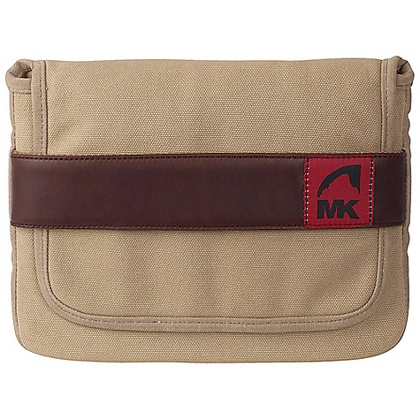 Entertainment Mountain Khakis MK Notebook Bag DECENT FEATURES of the Mountain Khakis MK Notebook Bag Sized for iPad or Sketchbook Additional Padding Flap Closure with Leather Red Flag MK Label The SPECS Dimension: (H x W): 8 x 9.75in. Body: 20 oz Canvas, 18 oz Waxed Canvas Trims: 100% Leather - $39.95