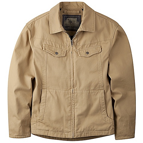 Free Shipping. Mountain Khakis Men's Stagecoach Jacket DECENT FEATURES of the Mountain Khakis Men's Stagecoach Jacket Nylon-Lined Sleeves 2 Handwarmer Pockets with Zip Compartments 2 Snap Chest Pockets Interior Zip Stash Pocket Adjustable Snap Cuffs Side Panel Gussets YKK Zippers Drop-Tail Hem Embroidered Logo Treatment on Back Right Shoulder Garment Washed Casual Fit The SPECS Body: 10.4 oz 2-Ply 100% Cotton Canvas Lining: Brushed Tricot - $154.95