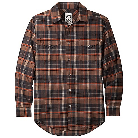 Free Shipping. Mountain Khakis Men's Peaks Flannel Shirt DECENT FEATURES of the Mountain Khakis Men's Peaks Flannel Shirt 5.7 oz 88% Polyester/10% Wool/2% Lycra Antique Silver-Reinforced Buttons Signature MK Back Yoke 2 Chevron Chest Pockets Custom Bison Snap at Bottom of Front Placket Drop Tail Hem Embroidered Logo Treatment on Back Right Shoulder Garment Washed Casual Fit - $89.95